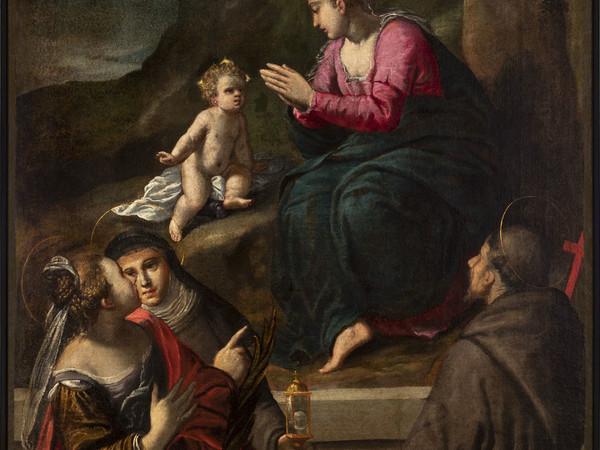 Ippolito Scarsella, Madonna di Reggio e Santi, 1600 circa, tela cm 144,5 x 112,5, Ferrara, Azienda Servizi alla Persona, inv. DOC18 (in deposito presso i Musei di Arte Antica)