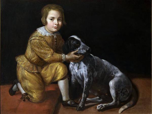 Domenico Fiasella detto il Sarzana (1589 - 1669), <em>Ritratto di ragazzino con cane</em>, Olio su tela, 107 x 79 cm. Collezione privata