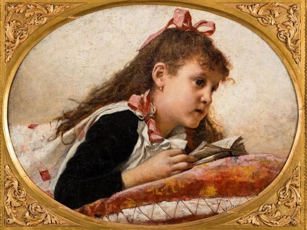 Roberto Fontana, Lezione a memoria, 1880-1895, olio su tela, 63 x 77,5 cm. Verona, Musei Civici – Galleria d'Arte Moderna Achille Forti