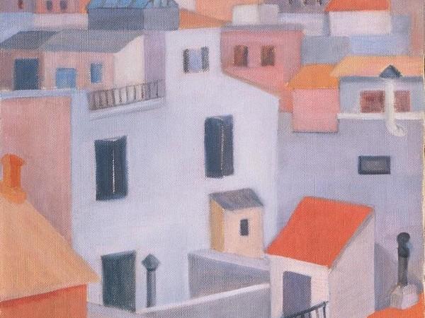 Giuliana Caporali, Case romane, 1954, olio su tela cm. 50x40