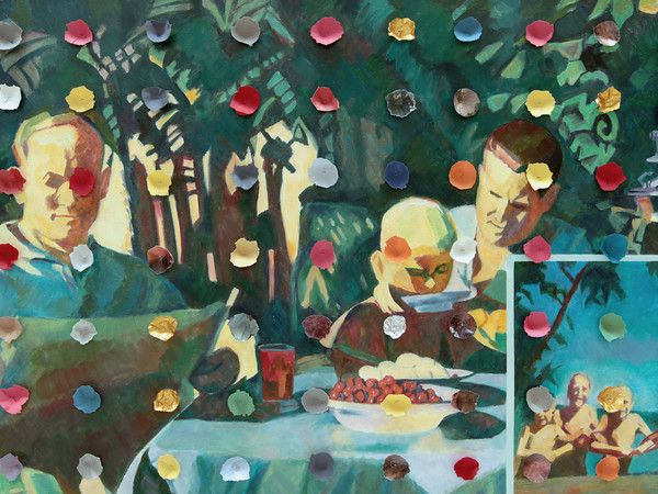 Ilya Kabakov, Holiday#5, 2014, Olio su tela, 100.5 x 160 x 8 cm, Collezione Ernesto Esposito