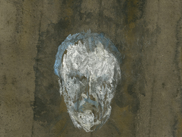 Zoran Music, Autoritratto, particolare. Tecnica mista su carta, 1986