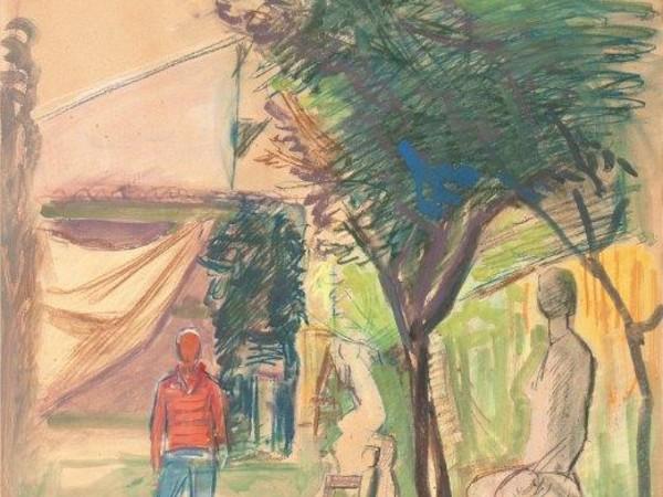 Achille Funi, Ugo Guidi nel suo Studio al Forte, 1960, pastelli e tempera su carta, cm. 79x54