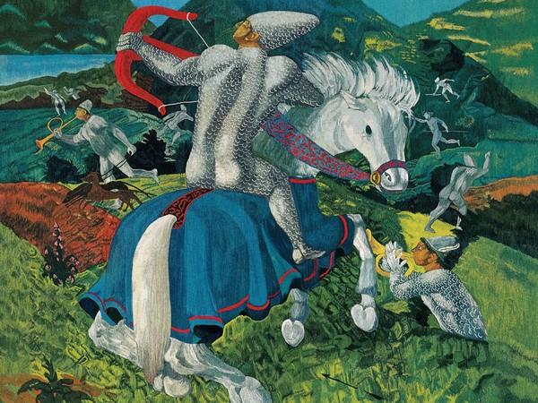 La caccia, 1967, Da Corrado Cagli, Arazzo ad alto liccio, lana, 300 x 240 cm, Tessitura Arazzeria Scassa, Asti Collezione privata, Asti
