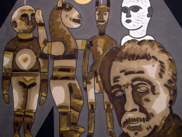 Concetto Pozzati, Il pittore e il burattinaio, 2002
