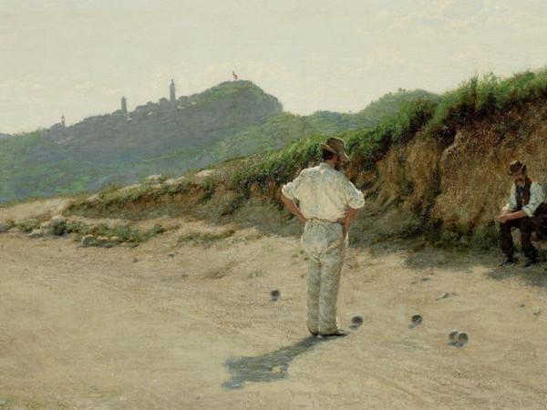 Angelo Morbelli, La partita alle bocce, olio su tela, 65x150 cm.
