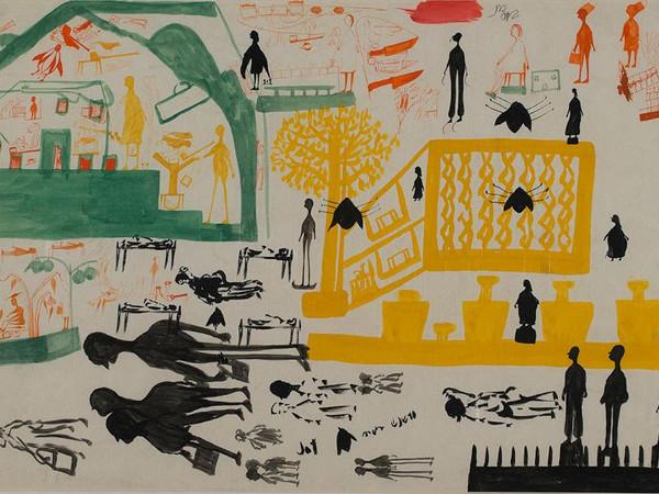 Carlo Zinelli. Tre insetti neri e albero giallo. 1958-59. Tempera su carta, 30 x 50 cm. Collezione Fondazione Cariverona