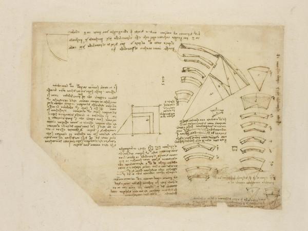 Leonardo da Vinci, Geometria f. 795 r Quadratura di porzioni di corone circolari e proporzionalità tra cerchi (BA) penna e inchiostro su carta mm 210 x 295 antica numerazione 225 C.A. 795 r (ex 291 v b) Circa 1508-10.