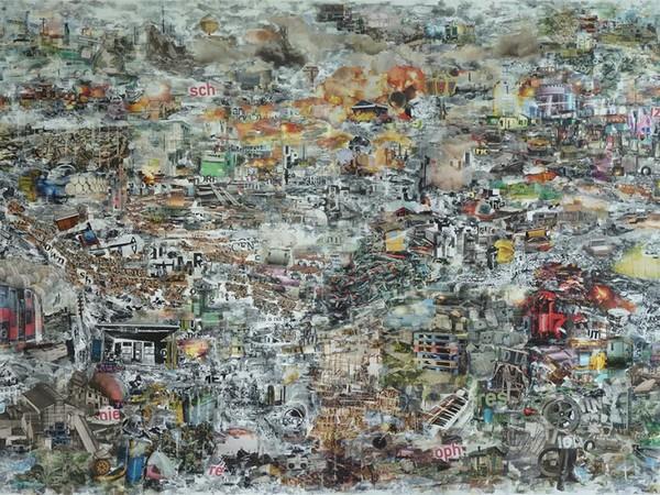 Botto&Bruno, White noise, 2017. Dècollage, tempera su carta, cm. 100x140