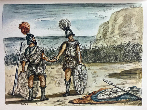 Iliade, episodi illustrati da Giorgio de Chirico con traduzione di Salvatore Quasimodo, 1968