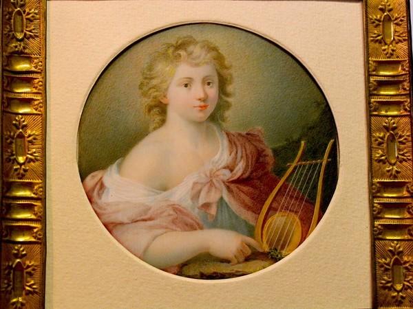 Anna Campori Seghizzi, Apollo (d'après l'Apollo di Michele Desubleo), 1812 – 1820 ca., tempera su avorio, Ø cm. 11