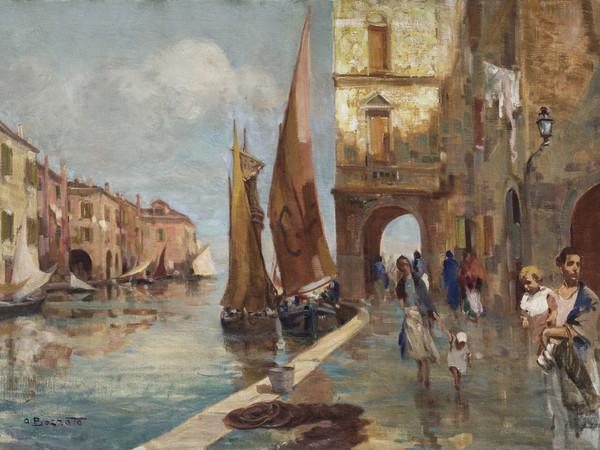Attilio Bozzato, <em>Veduta di Chioggia</em>, olio su tela, Vicenza, Palazzo Thiene