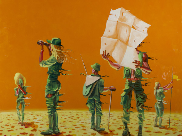 Alessandro Bazan, Wait, 2020, olio su tela, cm. 170x190
