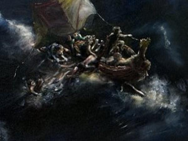 Thomas Braida, Navi grandi (quali fine farete piccoli marinai), 2013, olio su tela, 168 x 213 cm, particolare