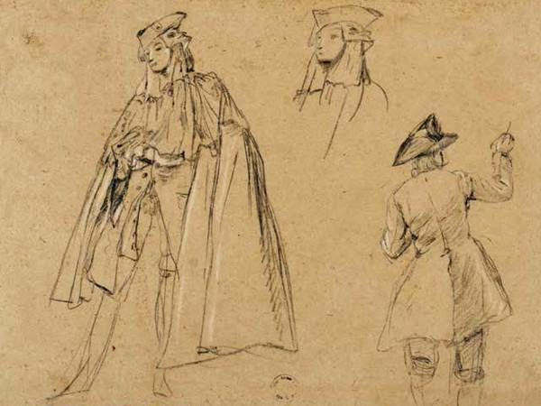 Pietro Longhi (1701 - 1785), <em>Pittore al cavalletto; due gentiluomini in bauta</em>, Carboncino e gessetto bianco, 300 x 440 mm, Inv. Cl. III, n. 437 | Provenienza: Teodoro Correr, 1830