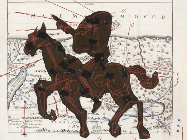 William Kentridge, Promised Land (Situs Terrae Canaan, sive Terrae Promissionis, hodie Palaestinae, Santissime Bibliorum), 2008, Arazzo, 300 x 335 cm, Collezione Gemma De Angelis Testa
