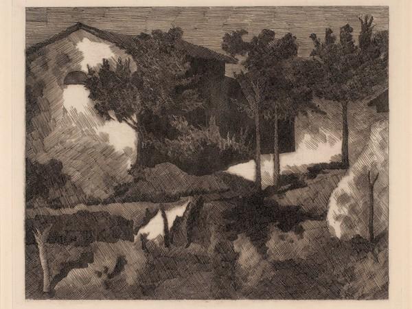 Giorgio Morandi, Paesaggio del Poggio, 1927, acquaforte su rame. Istituzione Bologna Musei | Museo Morandi