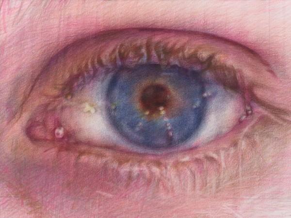 Jenny Saville, Study for the Eyes of Argus (dettaglio), 2021, matita colorata su carta da acquerello I Ph. Prudence Cuming Associates