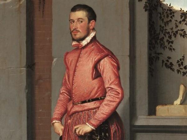 Giovan Battista Moroni, Il cavaliere in rosa, 1560, olio su tela 216x123 cm.