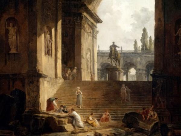 Hubert Robert, <em>Vue pittoresque du Capitole avec la Statue &Eacute;questre de Marc-Aur&egrave;le</em>, Valenciennes, 1774, Mus&eacute;e des Beaux-Arts