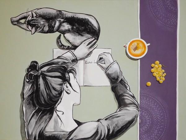 Paolo Bigelli, Caro Diario. Acrilico su tela, cm.90x65.2017
