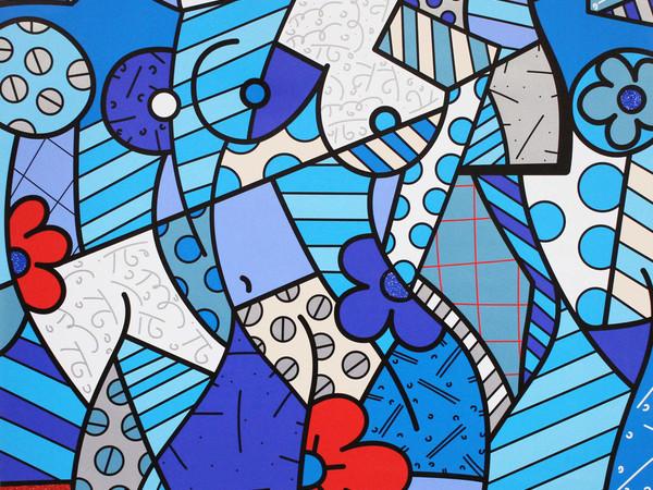 Romero Britto, Trinity, 2017, serigrafia su tela con polvere di diamante, cm. 132x132