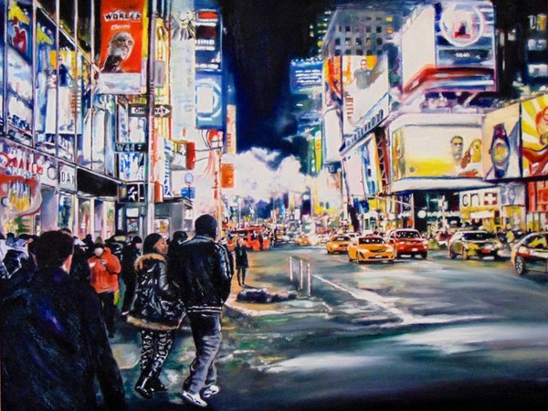 Tommaso Chiappa, New York night, acrilico su tela, 68x56cm, 2019