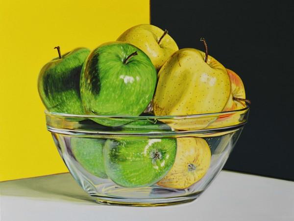 Pietro Alessandro Trovato, Mele verdi e gialle sopra vetro, olio su tela, cm. 50x40, 2018
