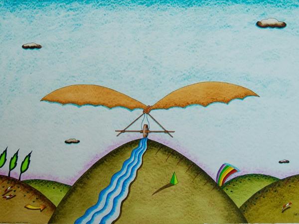 Giuliano Ghelli, Un sogno nato a Monte Ceceri, 1992, acquerello, 50x70 cm.