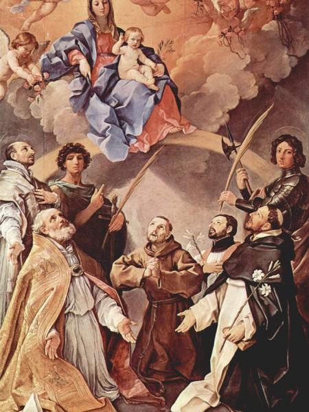 Pala della peste - Madonna col Bambino in gloria e i santi Petronio, Francesco, Ignazio, Francesco Saverio, Procolo e Floriano