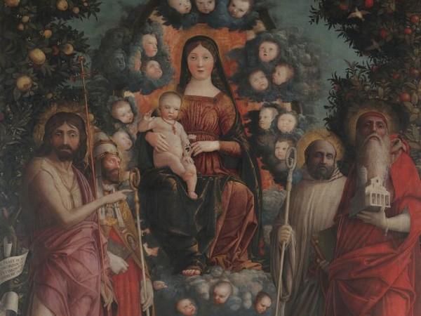 Andrea Mantegna, <em>Pala Trivulzio</em>, 1497, Tempera su tela, 214 x 287 cm, Pinacoteca del Castello Sforzesco, Milano