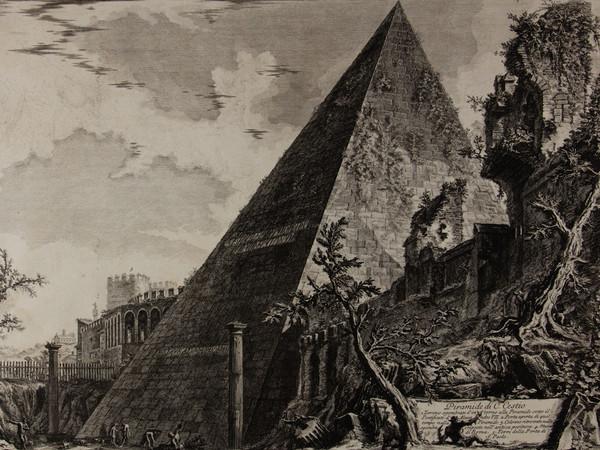Giambattista Piranesi, Vedute di Roma, Piramide di Caio Cestio, Acquaforte, 45.5 x 57.3 cm | Courtesy Musei Civici di Bassano del Grappa