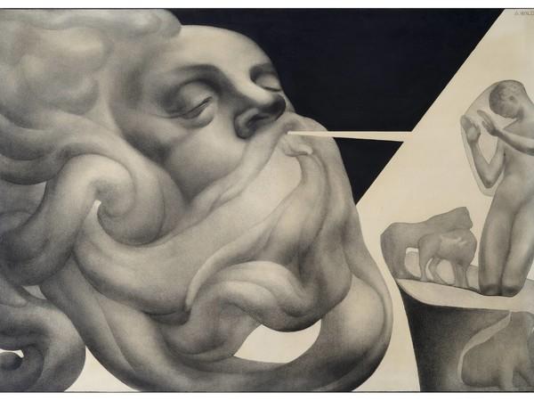 <span>Adolfo Wildt,</span><em>Animantium Rex Homo</em><span>, 1925, matita grafite e carboncino su carta, 89,8 x 130,7 cm</span>