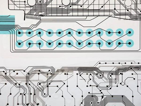 Adonai Sebhatu, Senza titolo, (particolare), 90x51, collage di circuiti pcb applicati su acetato, 2017
