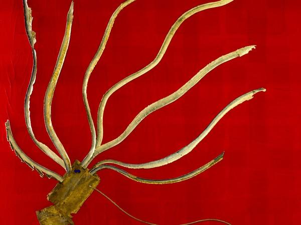 Andrea Pinchi, GINO51 Urban Squid 2018. Acrilico, carta da dattilografia Fabriano, 1960 circa, pelle del 1785 e corda del1659 su tela, cm. 100x100