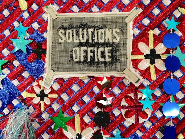 Daniel González, Solution's office, 2018, hand-sewn sequins and mixed media on canvas, 130 x 200 cm., detail
