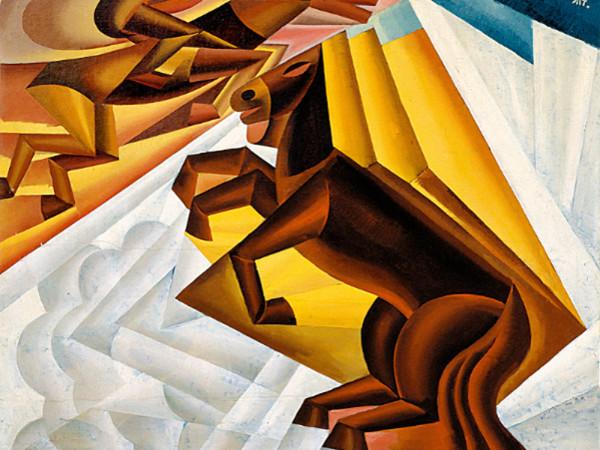 Fortunato Depero, Corsa ippica tra le nuovole, 1924
