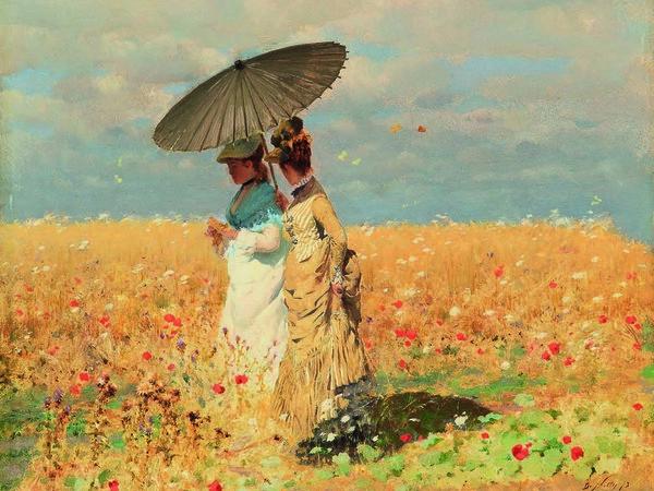 Giuseppe De Nittis, Nel grano, 1873, Olio su tela, 25 x 33 cm, Collezione privata