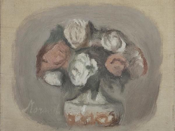 Giorgio Morandi, Fiori, 1956, olio su tela. Collezione Merlini