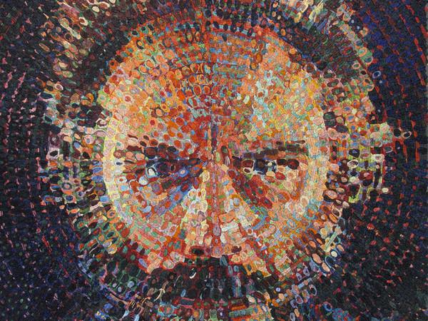 "Chuck Close, Lucas/Mosaic 2019. Glass smalti and ceramic combination, 86-5/8 x 72"""