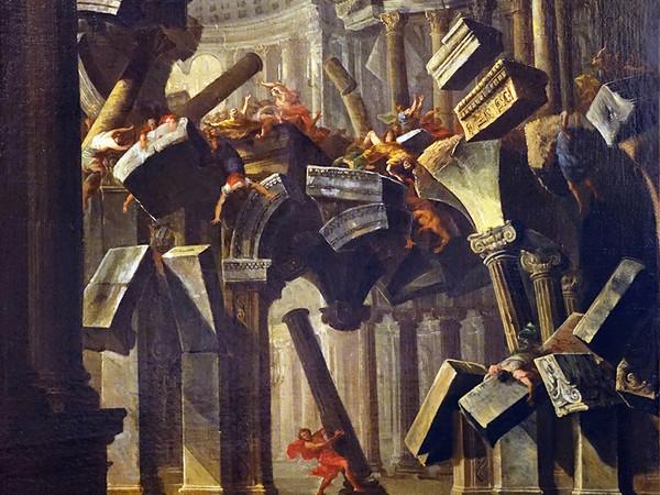 Antonio Joli, Sansone abbatte il tempio, olio su tela, 975x73 cm. Collezione di BPER Banca