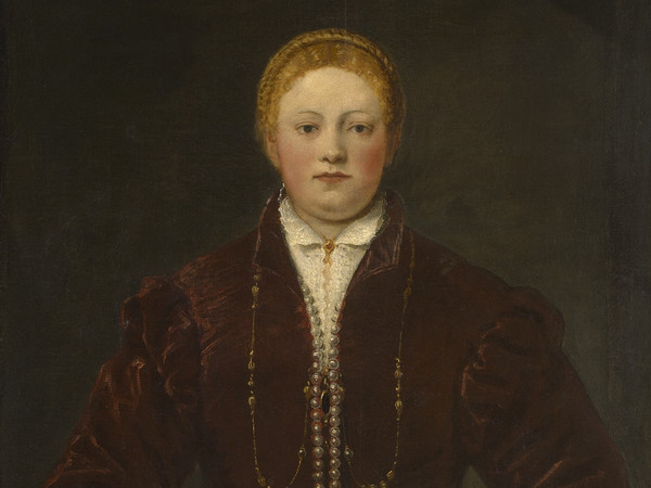 Tintoretto, Ritratto di donna in rosso, 1555 circa, Olio su tela, 75 x 98 cm, Vienna, Kunsthistorisches Museum, Gemäldegalerie | Tintoretto 500