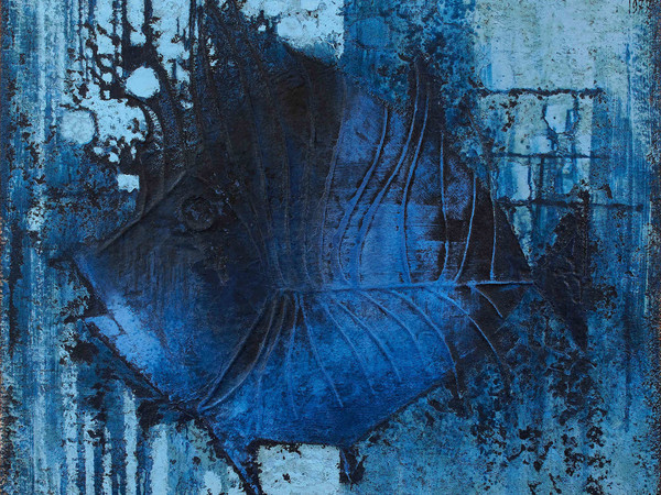 Franco Cardinali, Pesce azzurro, 1977, olio caseina e sabbia su tela, cm. 97x105