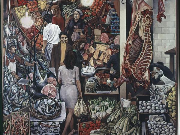 Renato Guttuso,<em>La Vucciria,</em>1974, olio su tela, cm. 300x300. Università degli studi di Palermo, in esposizione permanente presso<br /> il Complesso Monumentale dello Steri<br />