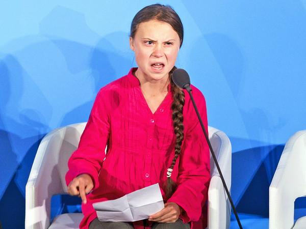 Justine Lane, 23 settembre, New York, USA. Greta Thunberg durante il suo discorso all'ONU