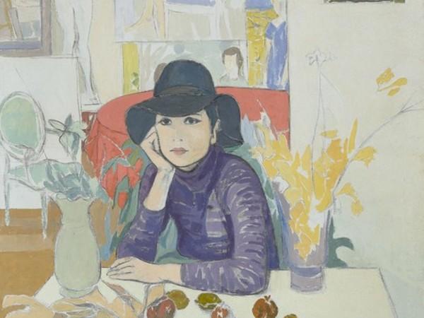 Francesco Menzio, Donna con cappello nello studio, 1970, olio su tela, cm 150 x 120