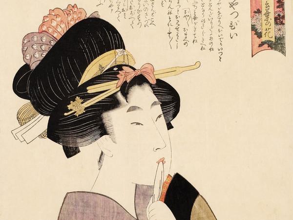 Kitagawa Utamaro, La ragazza precoce (Ochappii), Dalla serie Varietà di fiori secondo il loro linguaggio, 1802, Silografia policroma, 39.4 x 26 cm, Honolulu Museum of Art | Courtesy of Palazzo Reale, Milano 2016