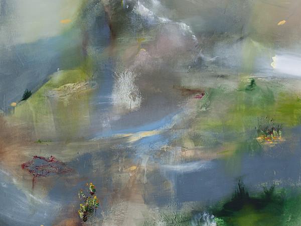 Angelo Bellobono, Landscraped, 2018. Olio e acrilico su tela, cm. 150x150