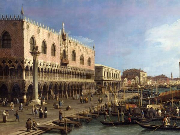 Antonio Canal detto Canaletto, Il molo verso Est con la Colonna di San Marco, Olio su tela, 186 x 111 cm, Milano, Raccolte d'Arte Antica e Pinacoteca del Castello Sforzesco