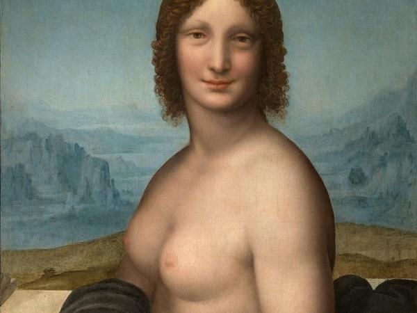 Gioconda nuda Bottega di Leonardo (attribuito a Gian Giacomo Caprotti, detto Salai, o a Francesco Melzi, su ideazione di Leonardo), Gioconda nuda, circa 1513-1517 (?), olio su tela (con fori di riporto) applicata in antico su tavola